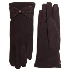 Solid Soft Screen Purple Gloves With Ribbon
